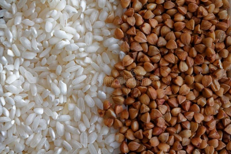 Witte Rijst en boekweitkorreltextuur, het concept juiste voeding en gezonde levensstijl Hoogste mening, close-up als achtergrond  stock afbeelding