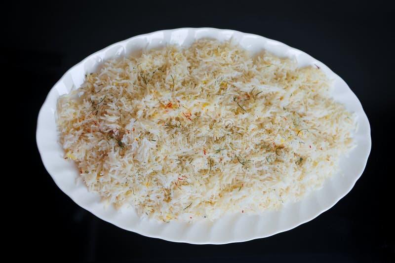 Witte Rijst op Zwarte Achtergrond stock afbeeldingen