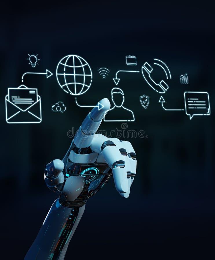 Witte robot die de sociale interface van netwerkpictogrammen controleren stock illustratie