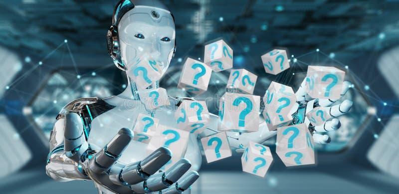Witte robot die het digitale vraagtekens 3D teruggeven gebruiken stock illustratie