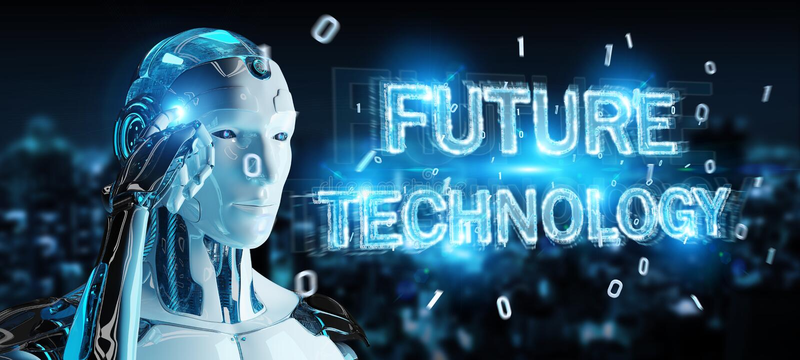 Witte robot die het toekomstige het hologram van de technologietekst 3D teruggeven gebruiken vector illustratie