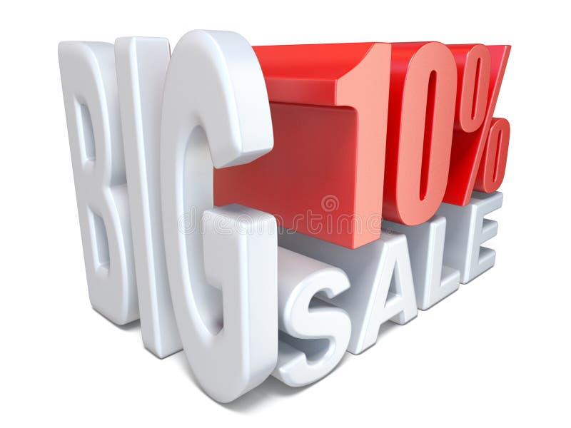 Witte rode grote 3D PERCENTEN 10 van het verkoopteken royalty-vrije illustratie