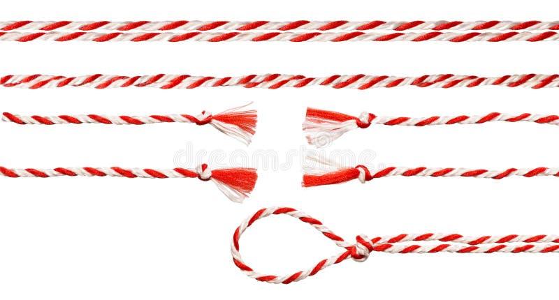 Witte Rode Kabelboog, Verdraaid Geïsoleerd Lintwit stock afbeelding