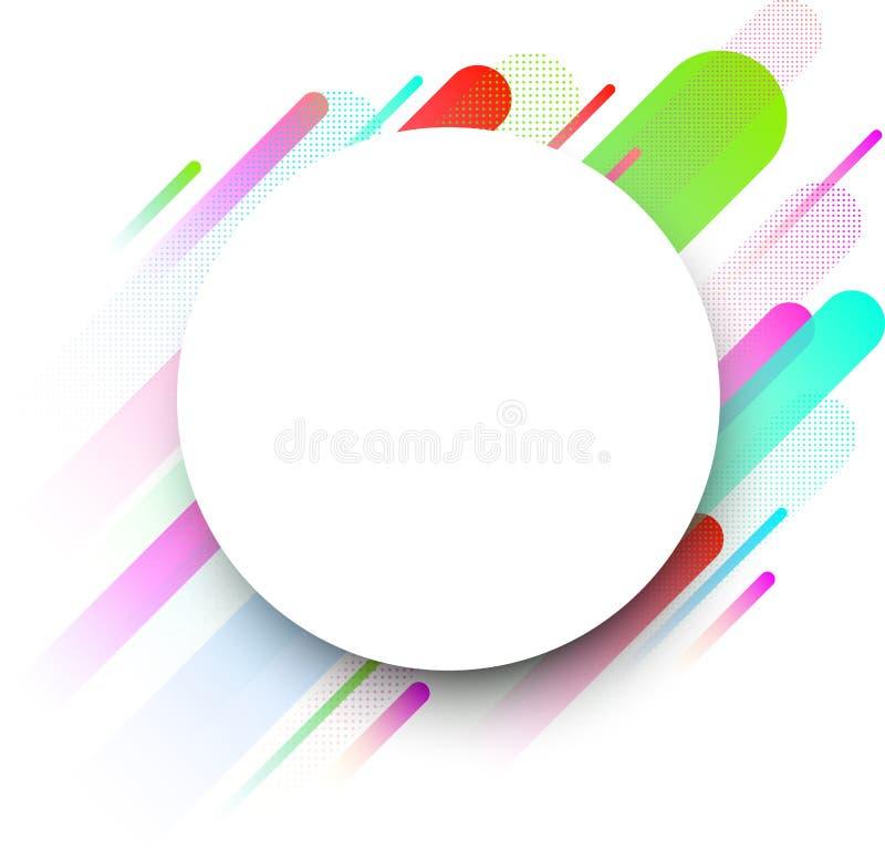 Witte ronde achtergrond met kleurenstroken vector illustratie