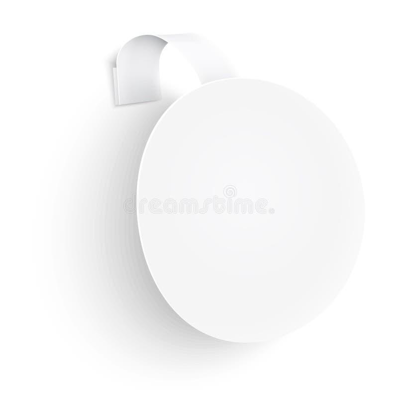 Witte ronde wobbler op witte achtergrond. stock illustratie