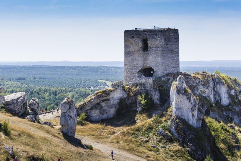 Witte rotsen en geruïneerd middeleeuws kasteel in Olsztyn, Polen royalty-vrije stock foto's