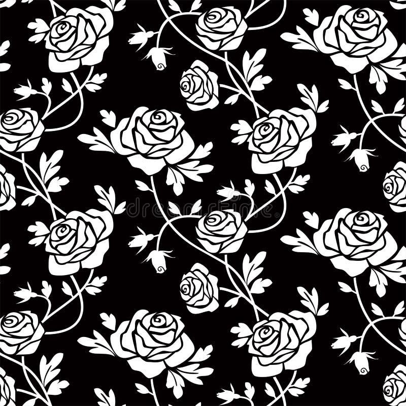 Witte rozen bij zwarte stock illustratie