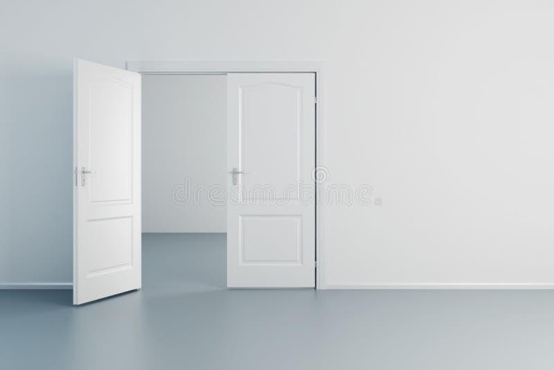 Witte ruimte met geopende deur stock illustratie