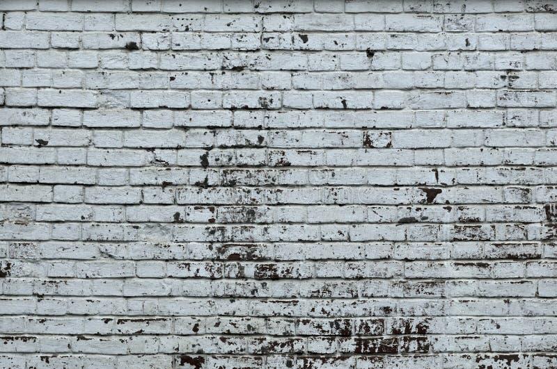 Witte Rustieke Textuur Retro Vergoelijkte Oude Bakstenen muuroppervlakte Uitstekende structuur Grungy Sjofel Ongelijk Geschilderd royalty-vrije stock fotografie
