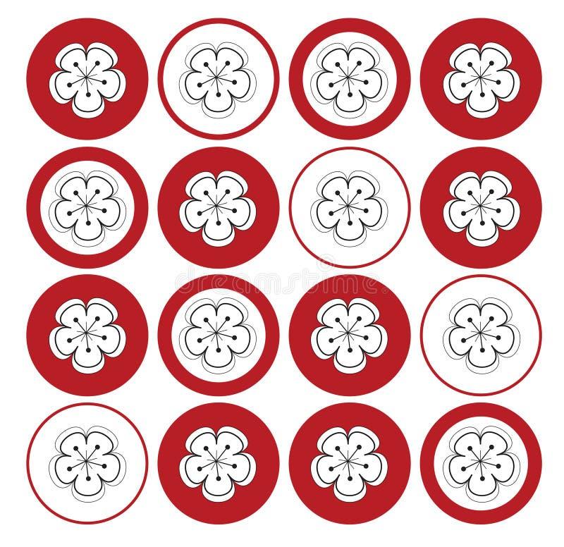 Witte sakura op rode punten vector illustratie