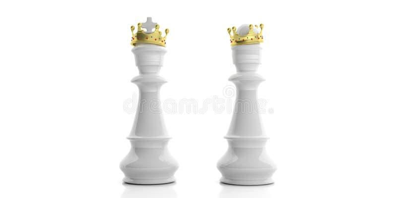 Witte schaakkoning en koningin met kronen op witte achtergrond 3D Illustratie vector illustratie