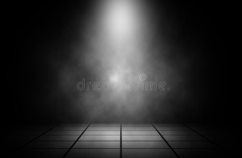 Witte schijnwerperrook op de achtergrond van de tegelvloer vector illustratie