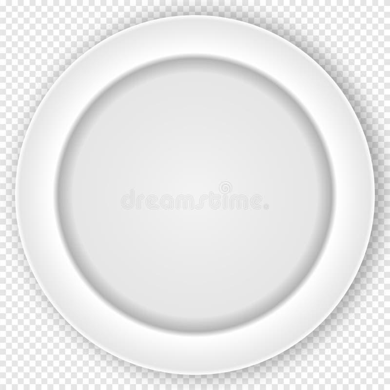 Witte Schone die het Dineren Plaat op Controleursachtergrond wordt geïsoleerd Vector illustratie vector illustratie