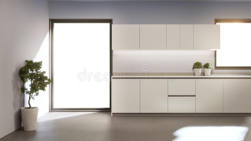 Witte schoonmaakloket en kast voor moderne keuken in een nieuw huis stock illustratie