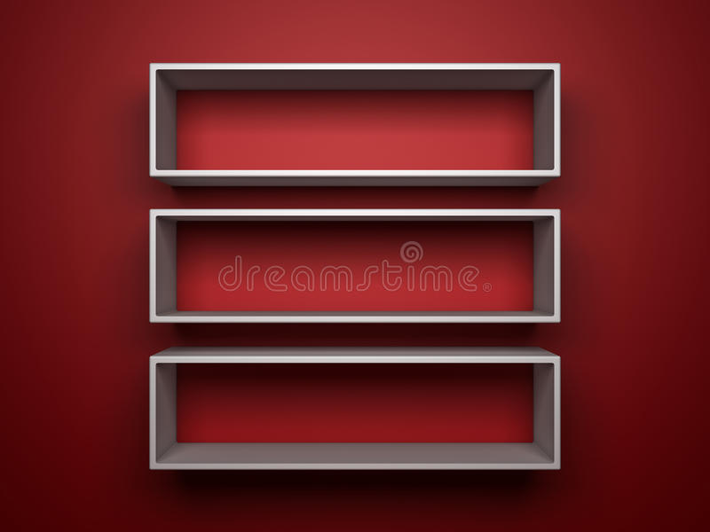 Witte shelfs op rode achtergrond stock illustratie
