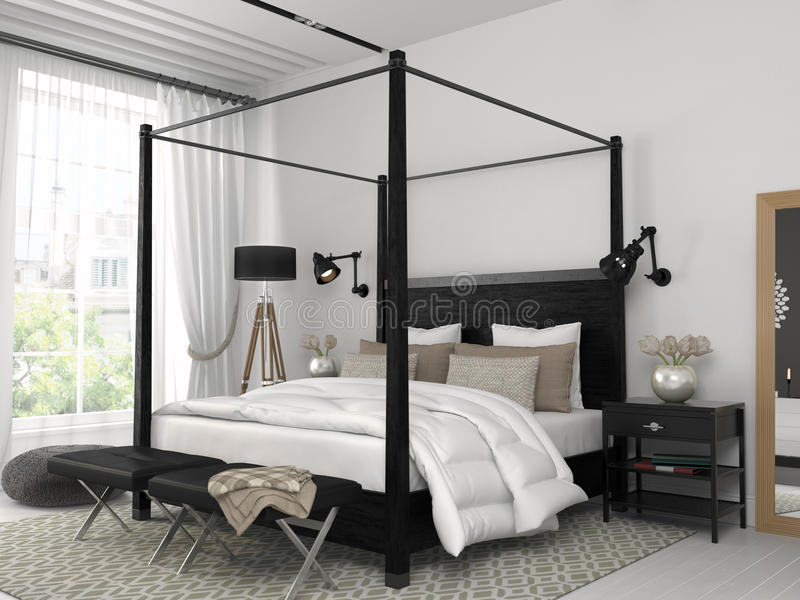 witte slaapkamer met zwart bed stock afbeelding