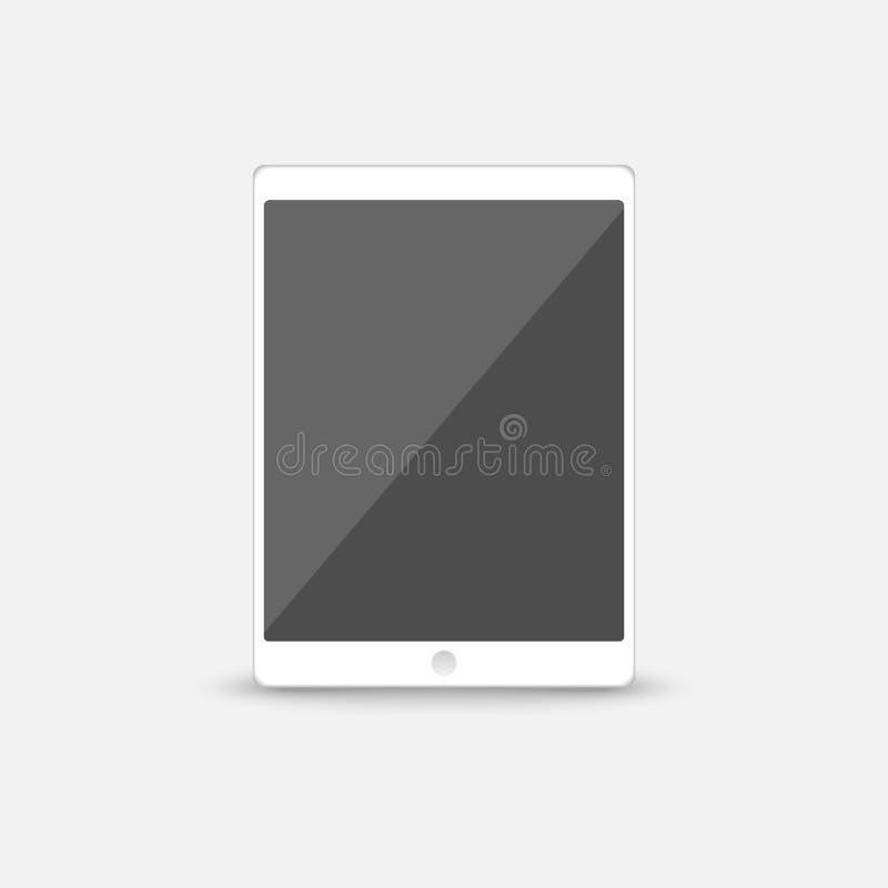 Witte slimme digitale tablet met grijs het schermpictogram in vlak die stijlontwerp, op blauwe achtergrond, vector wordt geïsolee royalty-vrije illustratie
