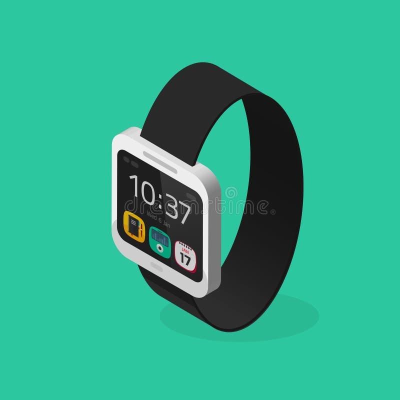 Witte slimme horloge isometrische stijl met zwarte armband vectorillustratie vector illustratie