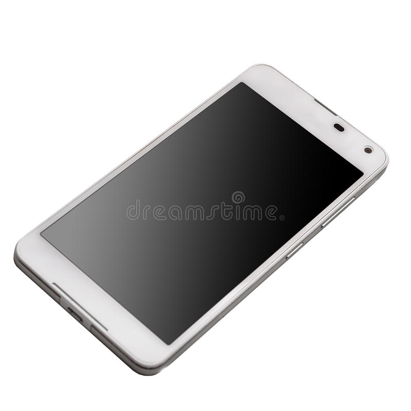 Witte slimme telefoon met het zwarte die scherm op witte achtergrond wordt geïsoleerd royalty-vrije stock afbeeldingen