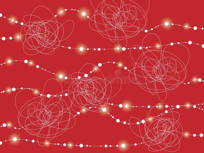 Witte slordige lijnenstroom op rood stock illustratie