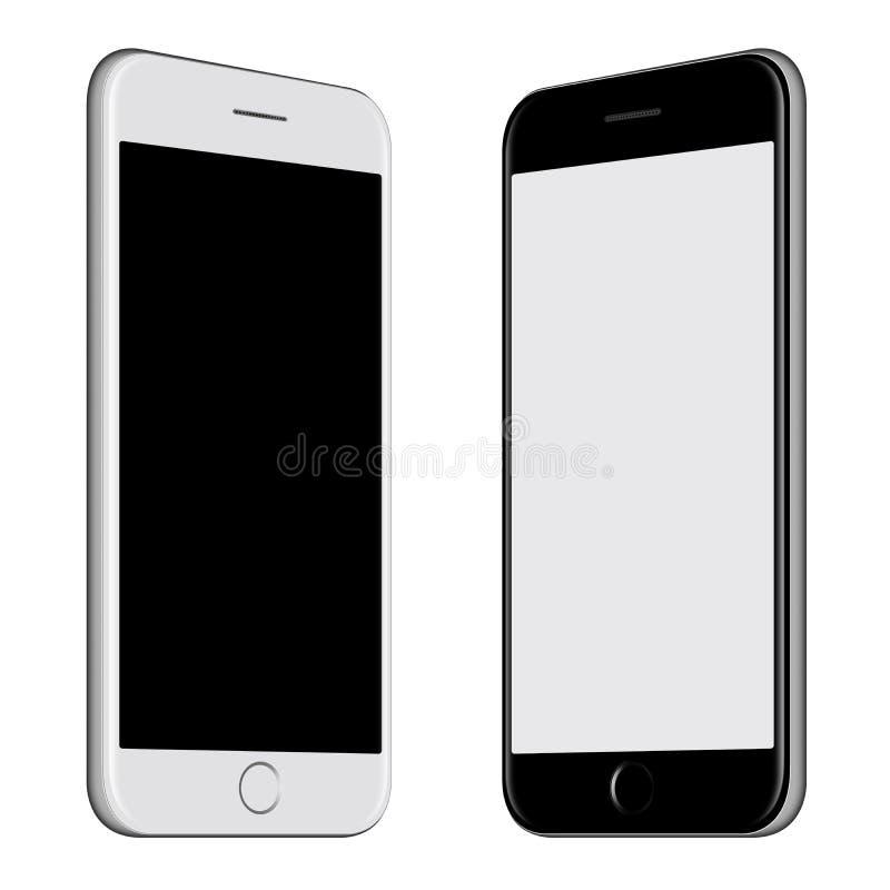Witte smartphone en Zwart smartphonemodel met het lege scherm stock illustratie