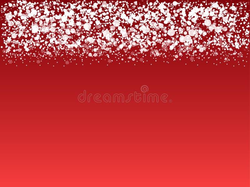 Witte sneeuwgrens op rode achtergrond stock illustratie