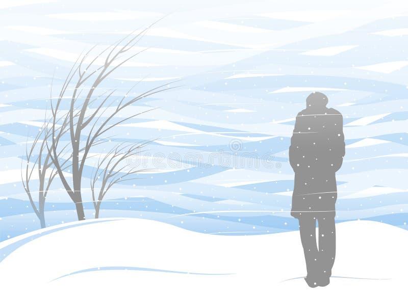 Witte sneeuwstorm royalty-vrije illustratie