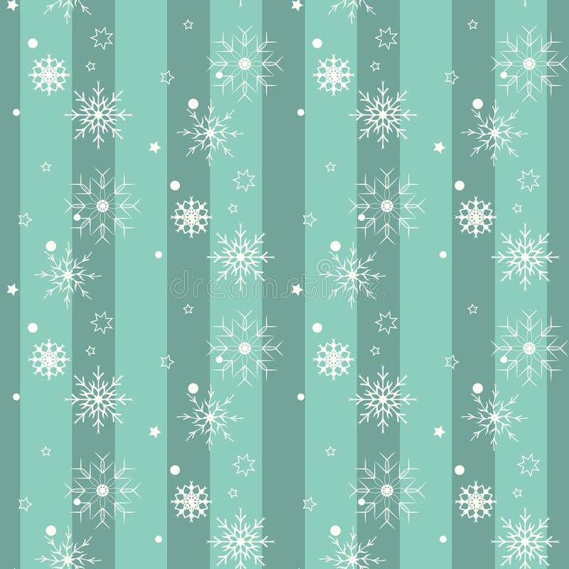 Witte sneeuwvlok op blauwe achtergrond Ontwerp van het Kerstmis het vectorpatroon voor achtergrond royalty-vrije illustratie