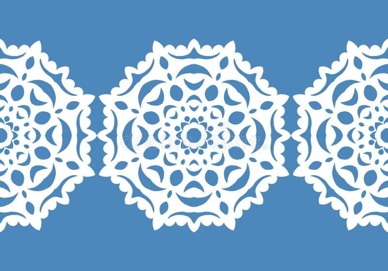 Witte sneeuwvlokken Het patroon van Kerstmis Cirkelornament en decoratief kant Vector vector illustratie