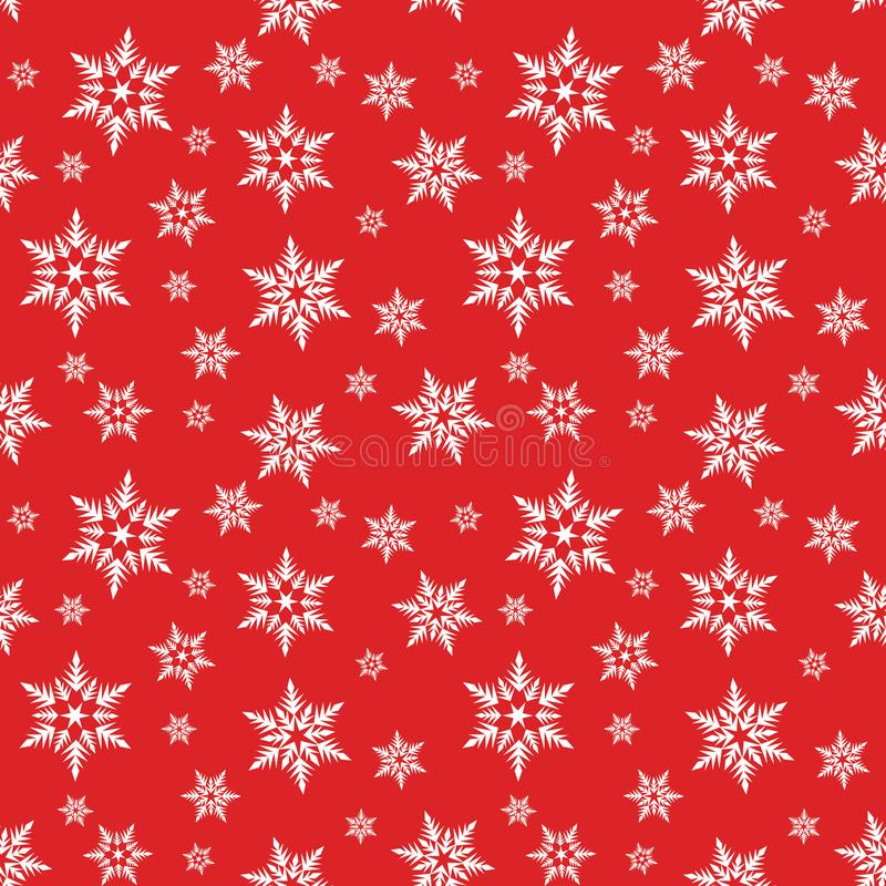 Witte sneeuwvlokkensneeuw op het rode patroon van achtergrond de winterkerstmis royalty-vrije illustratie