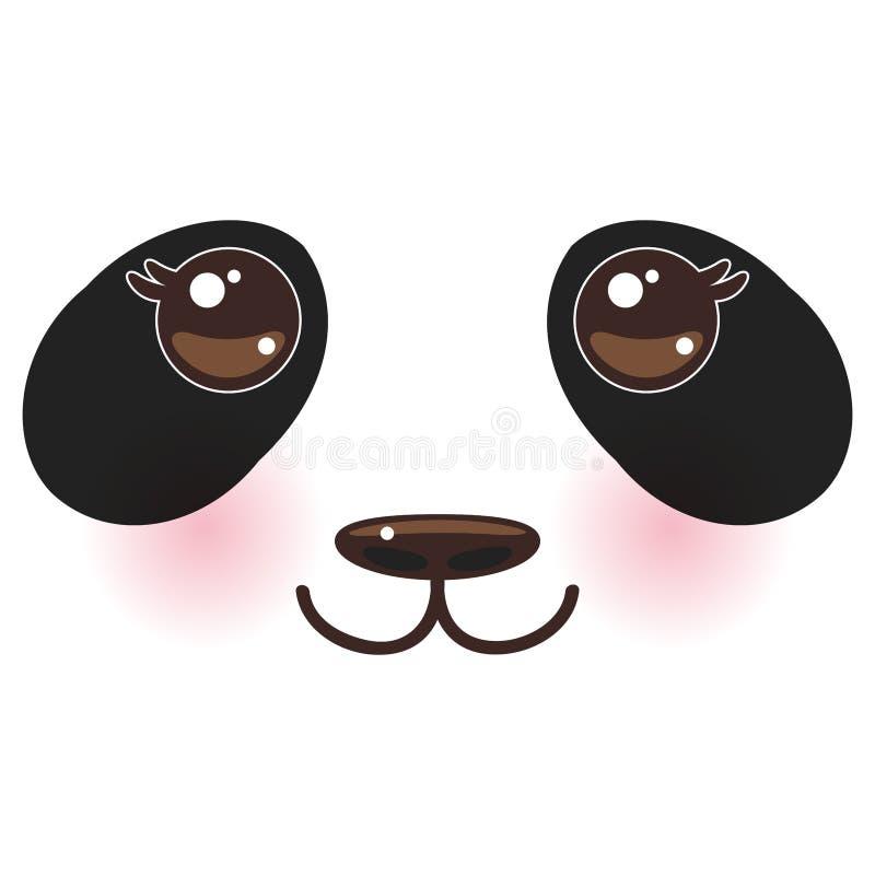 Witte snuit van de Kawaii de grappige panda met roze wangen en grote zwarte ogen op witte achtergrond Vector royalty-vrije illustratie