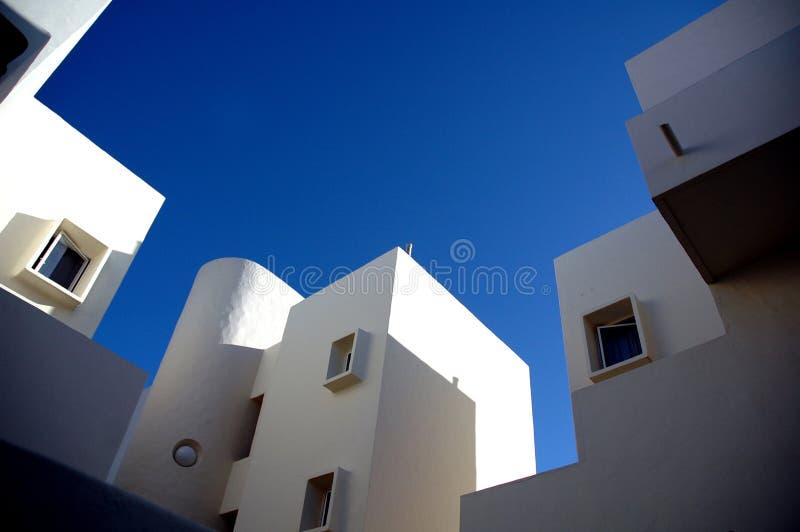Witte Spaanse huizen stock foto's