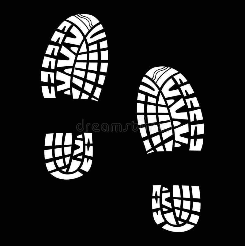 Witte sporen van schoenen op een zwarte achtergrond royalty-vrije illustratie