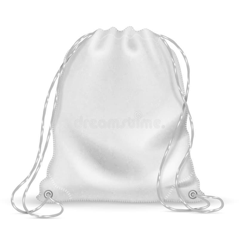 Witte sportenrugzak, backpacker doekzak met drawstrings Geïsoleerd vectormalplaatje royalty-vrije illustratie