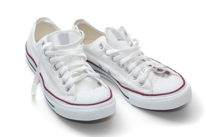 Witte sportschoenen stock foto's