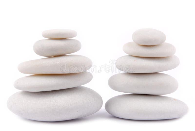 Witte steenkiezelsteen zen stock fotografie