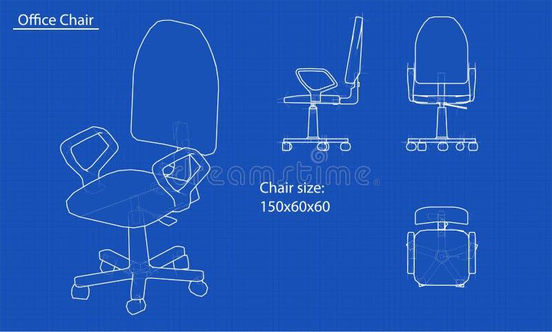 Witte stoelblauwdruk royalty-vrije illustratie