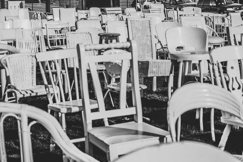 Witte stoelenaardbeving Christchurch Nieuwe Zeland stock foto