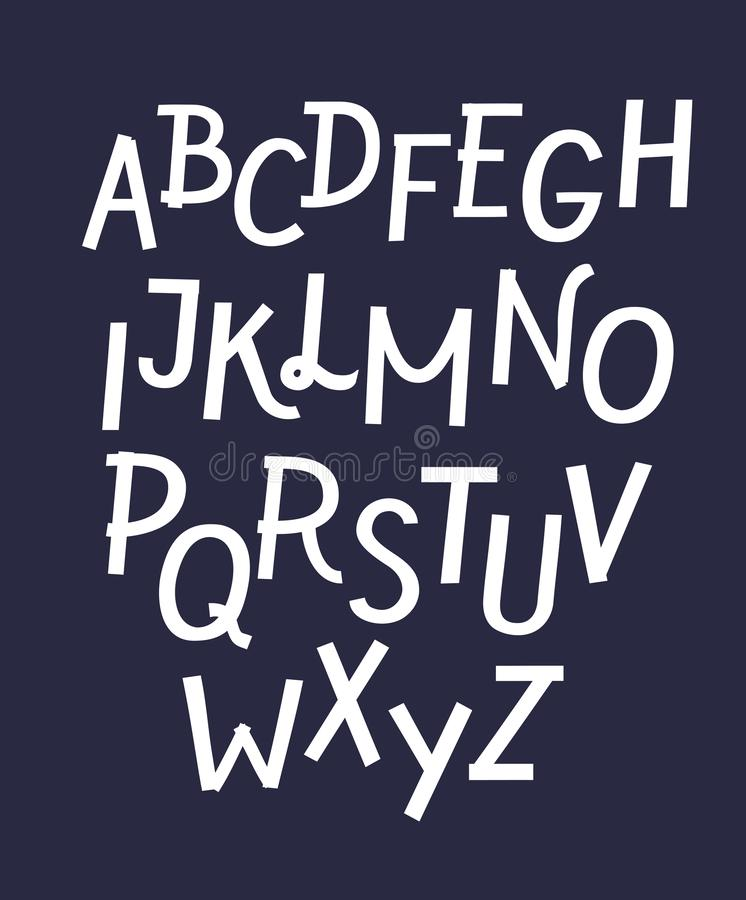 Witte strikte doopvont voor donkere achtergronden, Latijnse vette letters gezet met schaduwen binnen brieven vector illustratie