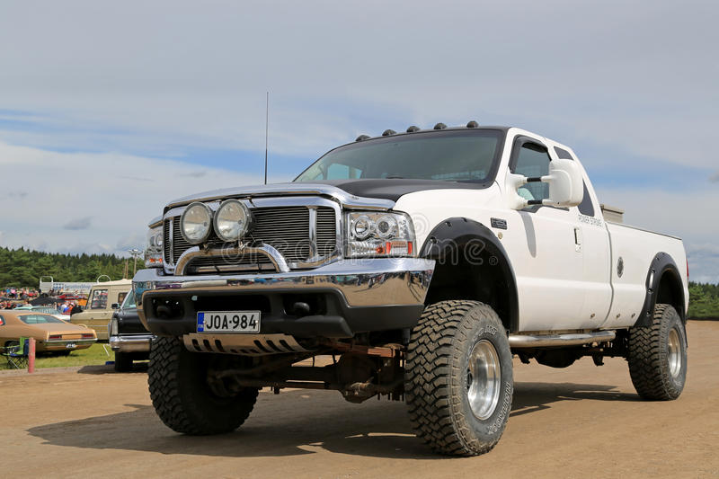Witte Super de Plichtspick-up van Ford F250 stock foto