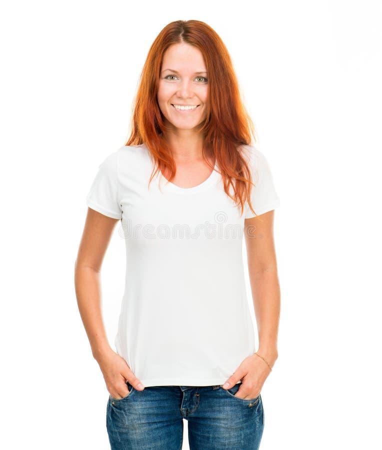 Meisje in witte t-shirt