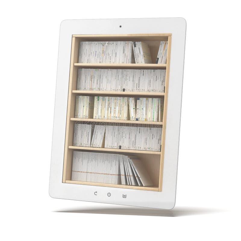 Witte Tablet Met Boekenrek Royalty-vrije Stock Afbeelding