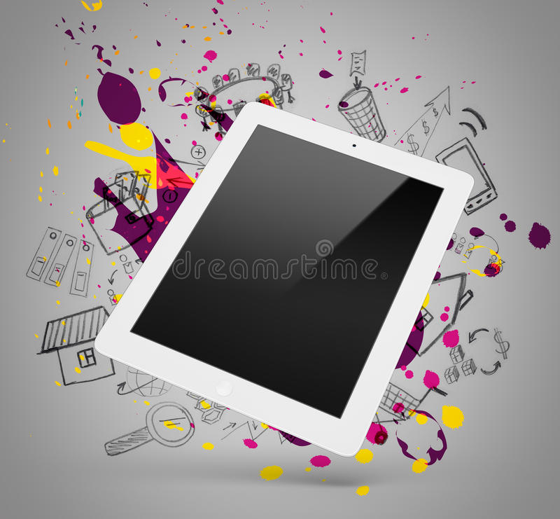 Witte tablet op een grijze achtergrond met krabbels en stock illustratie