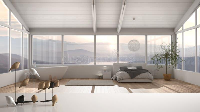 Witte tafelklep of plank met minimale vogelversiering, birdie knick - overhoop over vervaagde hedendaagse luxe slaapkamer met royalty-vrije stock afbeeldingen