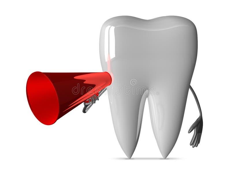 Witte tand met megafoon royalty-vrije illustratie