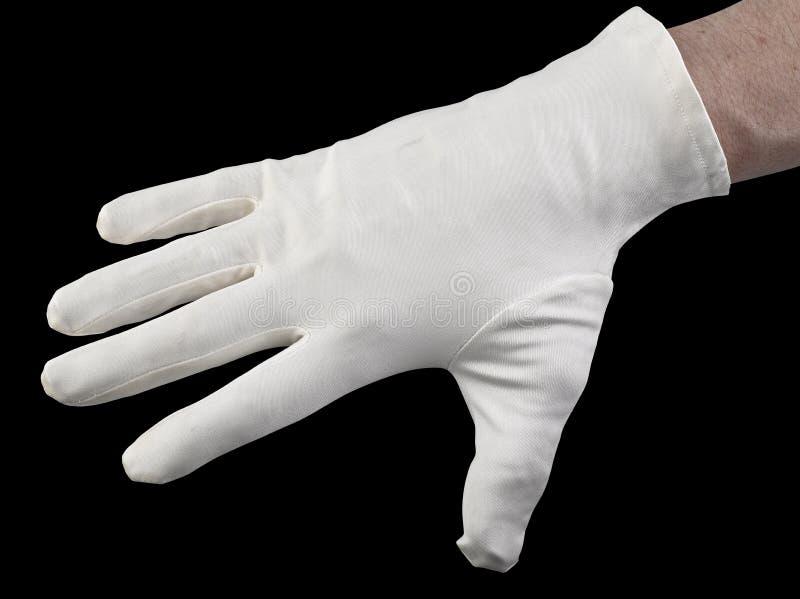 Witte textielhandschoen stock afbeeldingen