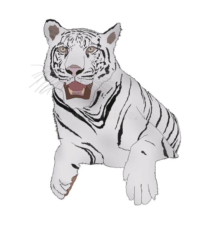 Witte tijger in sitdownactie het digitale schilderen stock illustratie