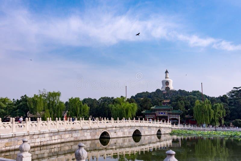 Witte Toren, Beihai-Park, Peking, China stock afbeelding