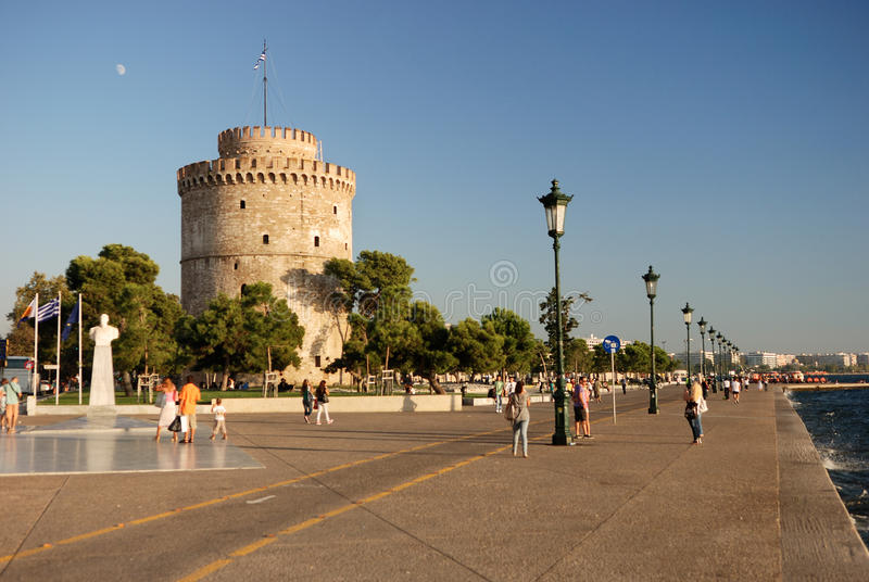 Witte toren in thessaloniki royalty-vrije stock afbeelding