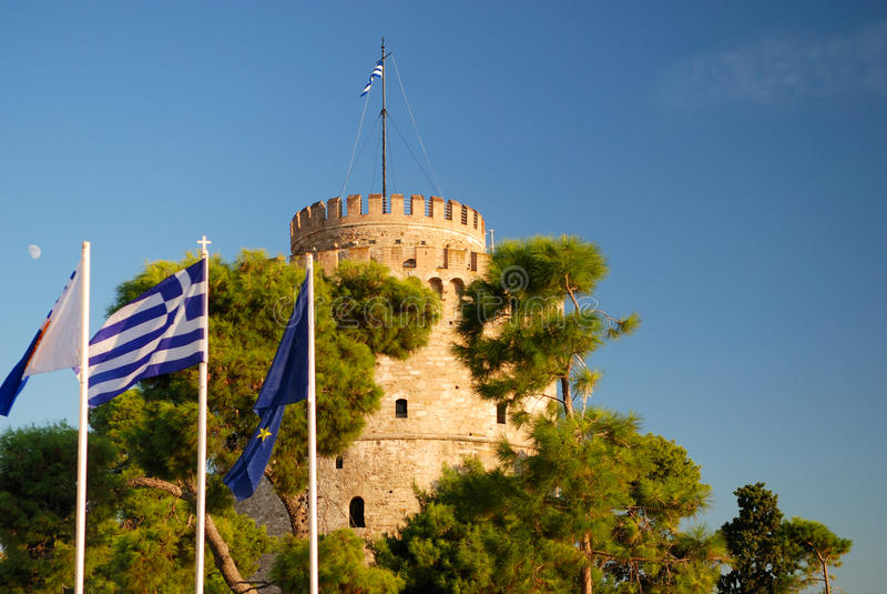 Witte toren in thessaloniki royalty-vrije stock afbeeldingen